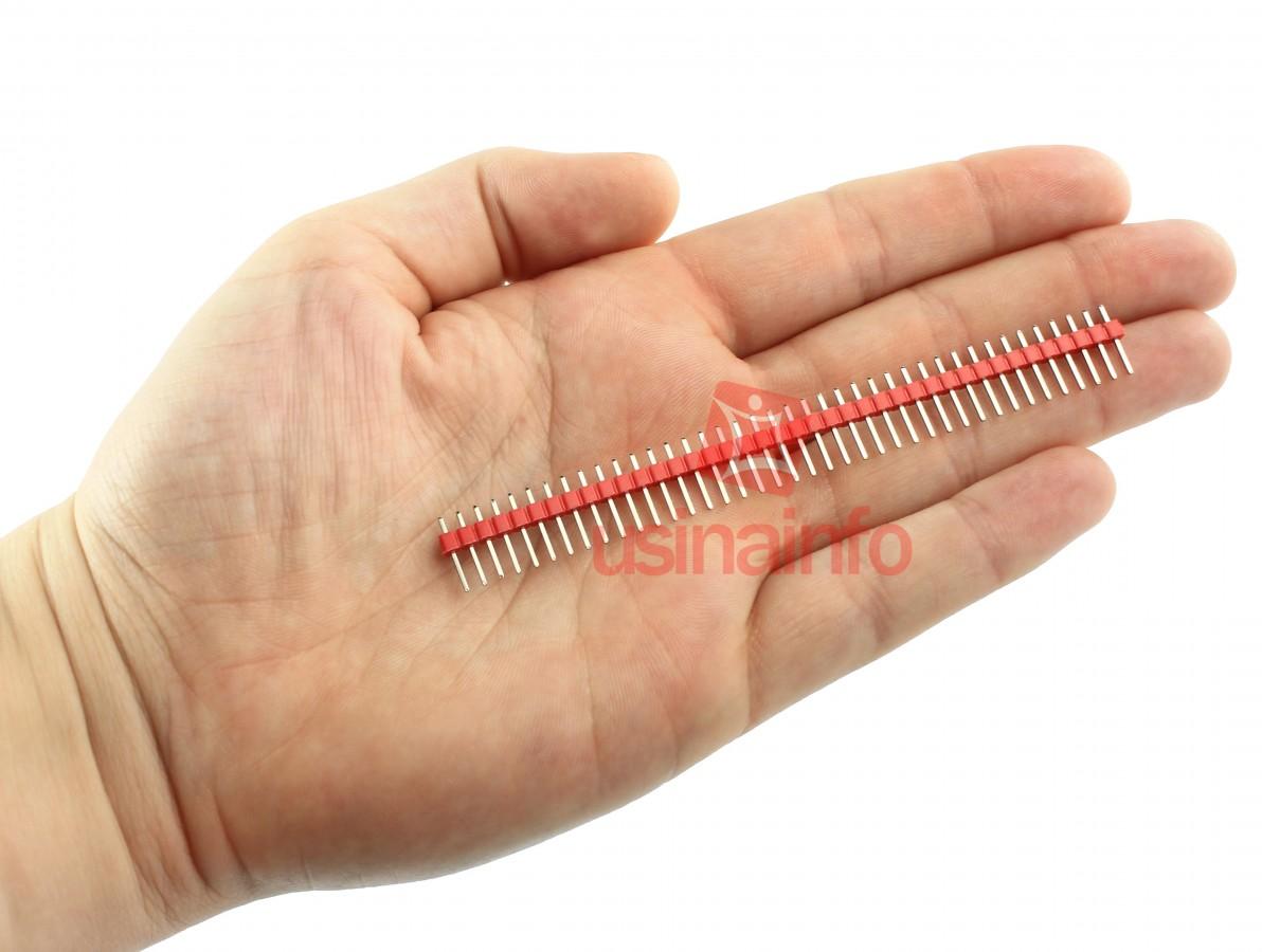 Barra de pinos macho 1x40 vias com passo de 2,54mm - Vermelho
