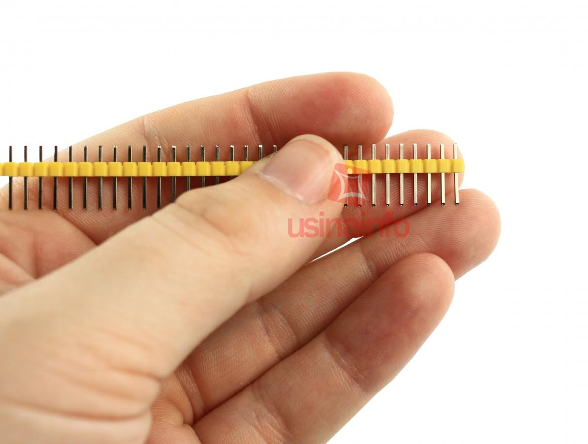 Barra de pinos macho 1x40 vias com passo de 2,54mm - Amarelo