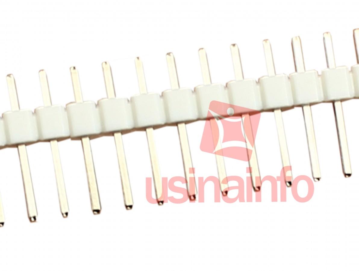 Barra de pinos macho 1x40 vias com passo de 2,54mm - Branco
