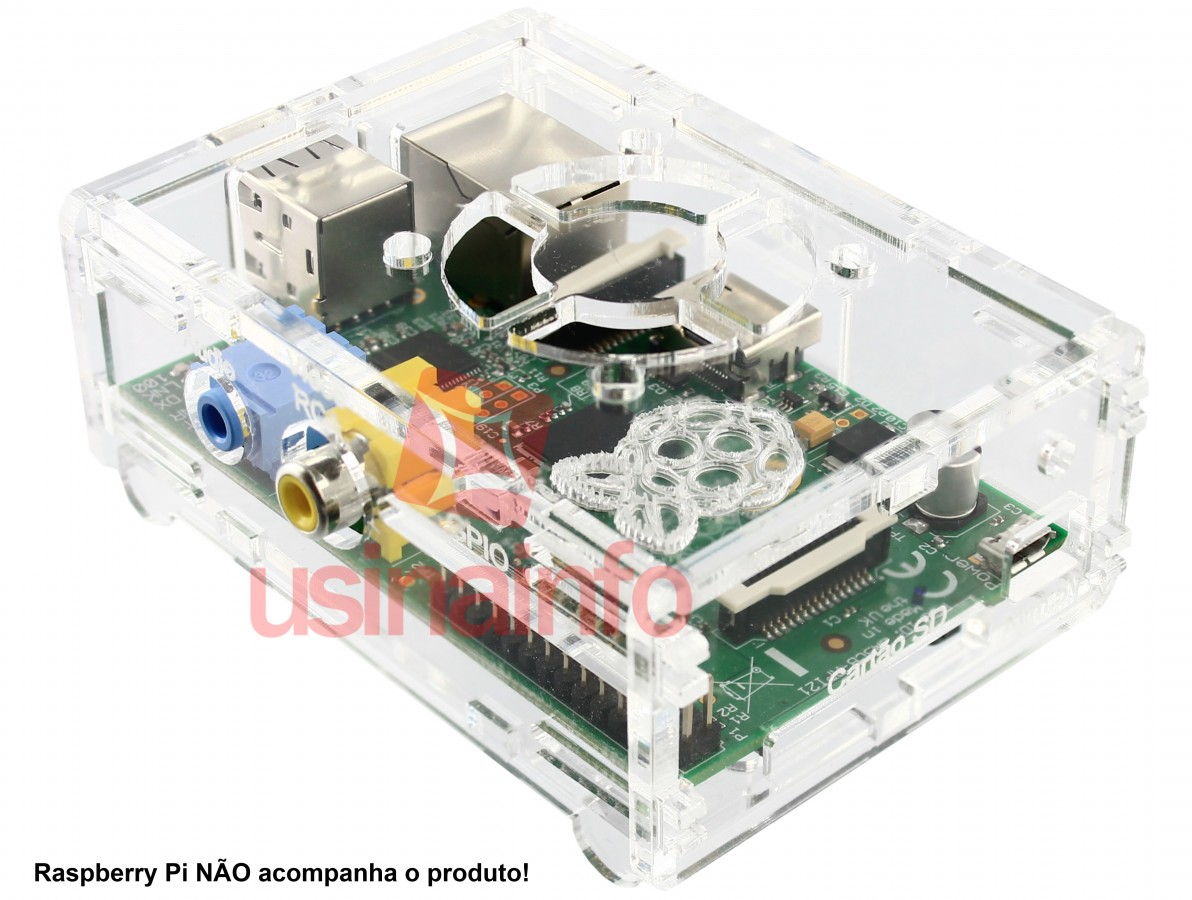 Case para Raspberry Pi B / Caixa em acrílico - Com logo