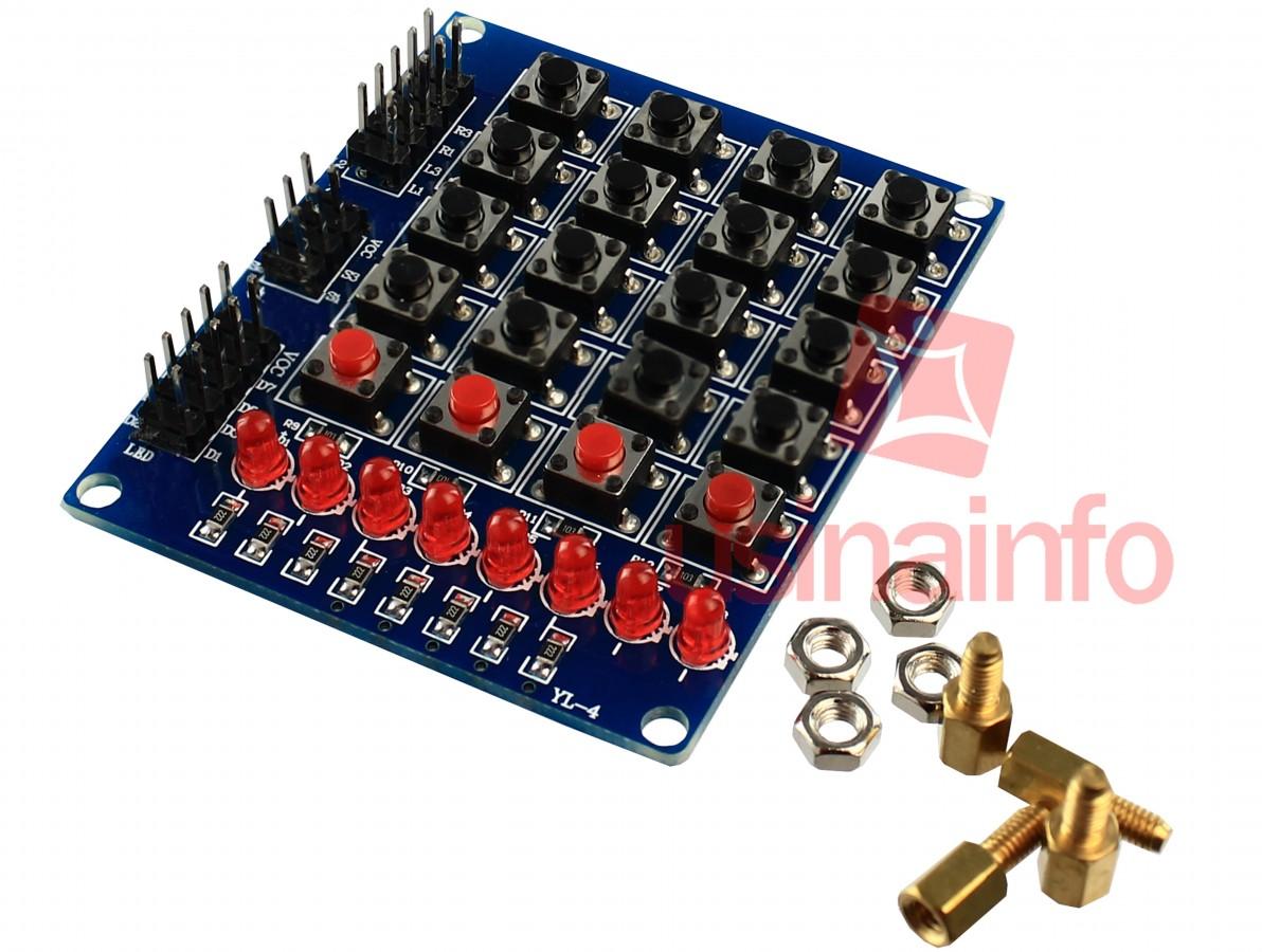 Módulo Teclado Matricial 4x4 + push button + 8 LEDs