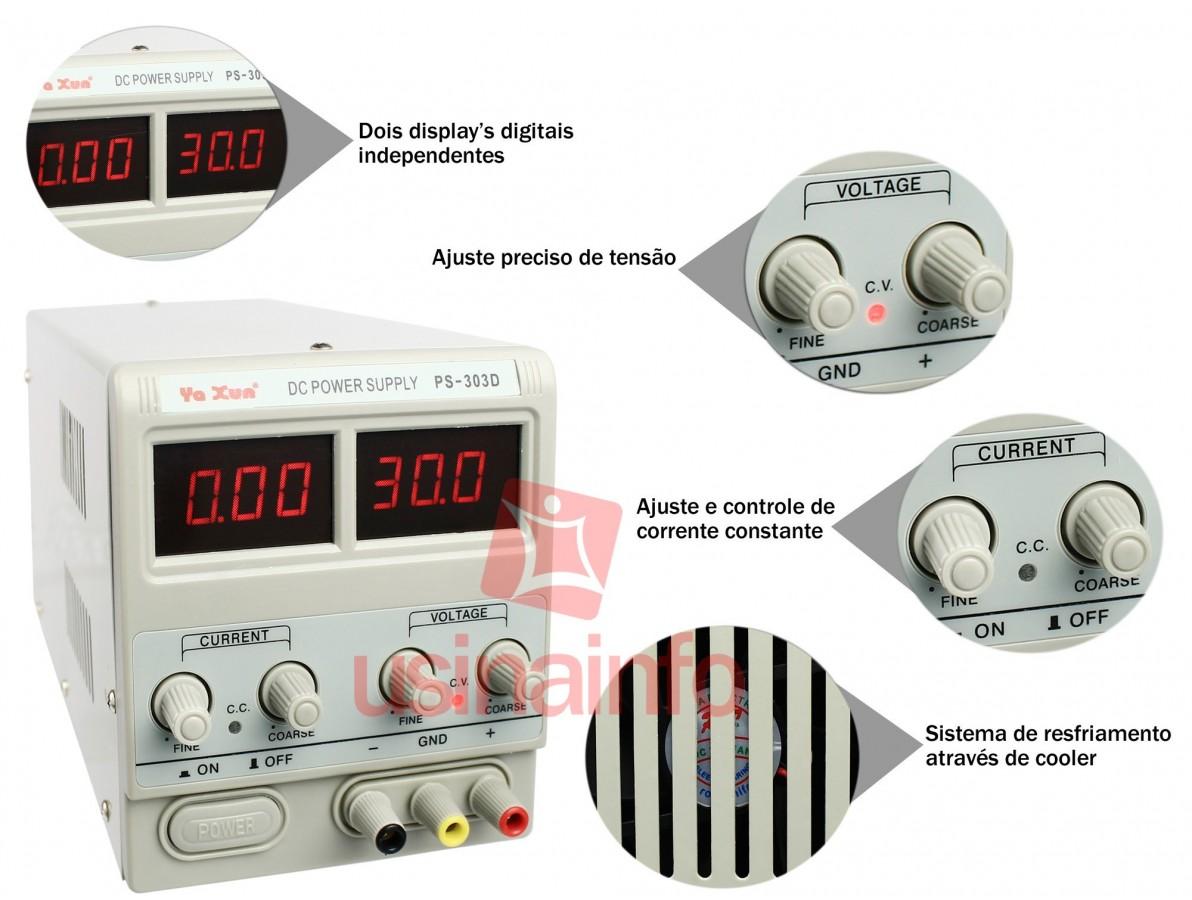 Fonte de Alimentação Digital Regulável de Bancada 30V 3A - PS 303D Bivolt 127V/220V