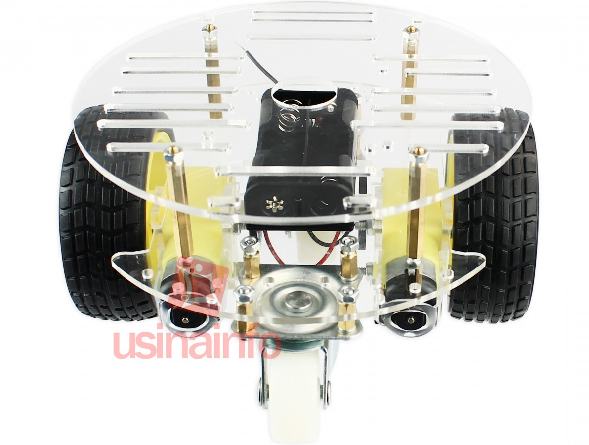 Carrinho Arduino Redondo / Carro Robô 2WD 200RPM Acrílico 2mm - Kit Chassi
