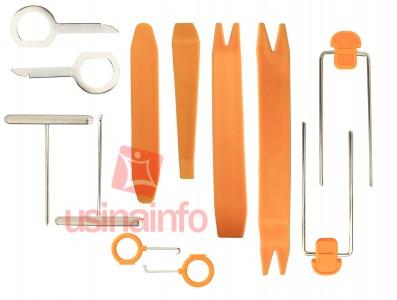 Jogo de Chaves para extração de molduras, rádios e grampos automotivos - Kit com 12 peças - HF-007