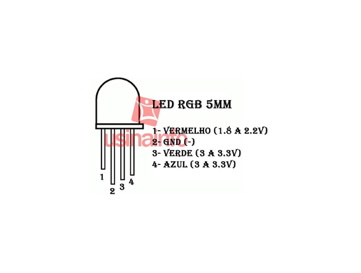 LED RGB de Alto Brilho 5mm - Negativo Comum