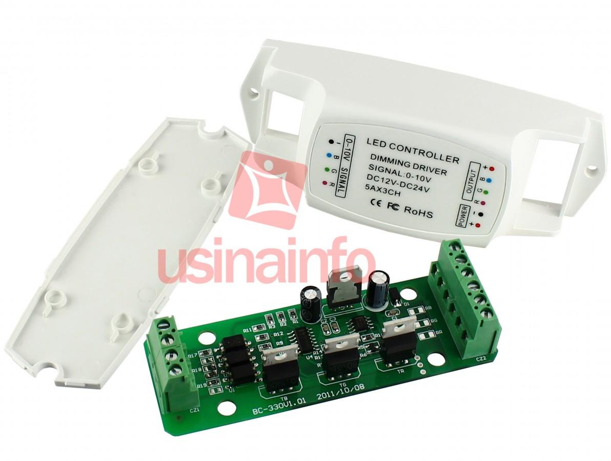 Amplificador RGB / Controlador Dimmer para Fita de LED RGB 0-10V