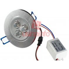 Spot LED de Embutir Direcionável em Alumínio Escovado 3*3W - Branco Frio