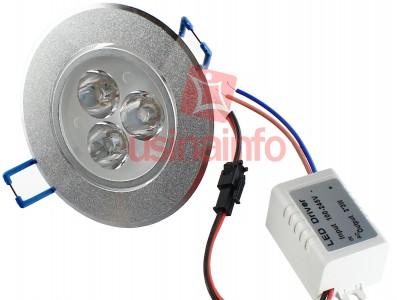 Spot LED de Embutir Direcionável em Alumínio Escovado 3*3W - Branco Quente
