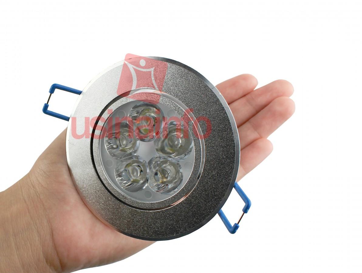Spot LED de Embutir Direcionável em Alumínio Escovado 5*3W - Branco Frio