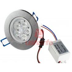 Spot LED de Embutir Direcionável em Alumínio Escovado 5*3W - Branco Quente