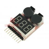 Voltímetro Digital para Baterias 1S a 8S com Alarme de Carga Baixa