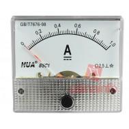 Amperímetro Analógico para Corrente Contínua 0-1A DC