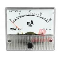 Amperímetro Analógico para Corrente Contínua 0-20mA DC