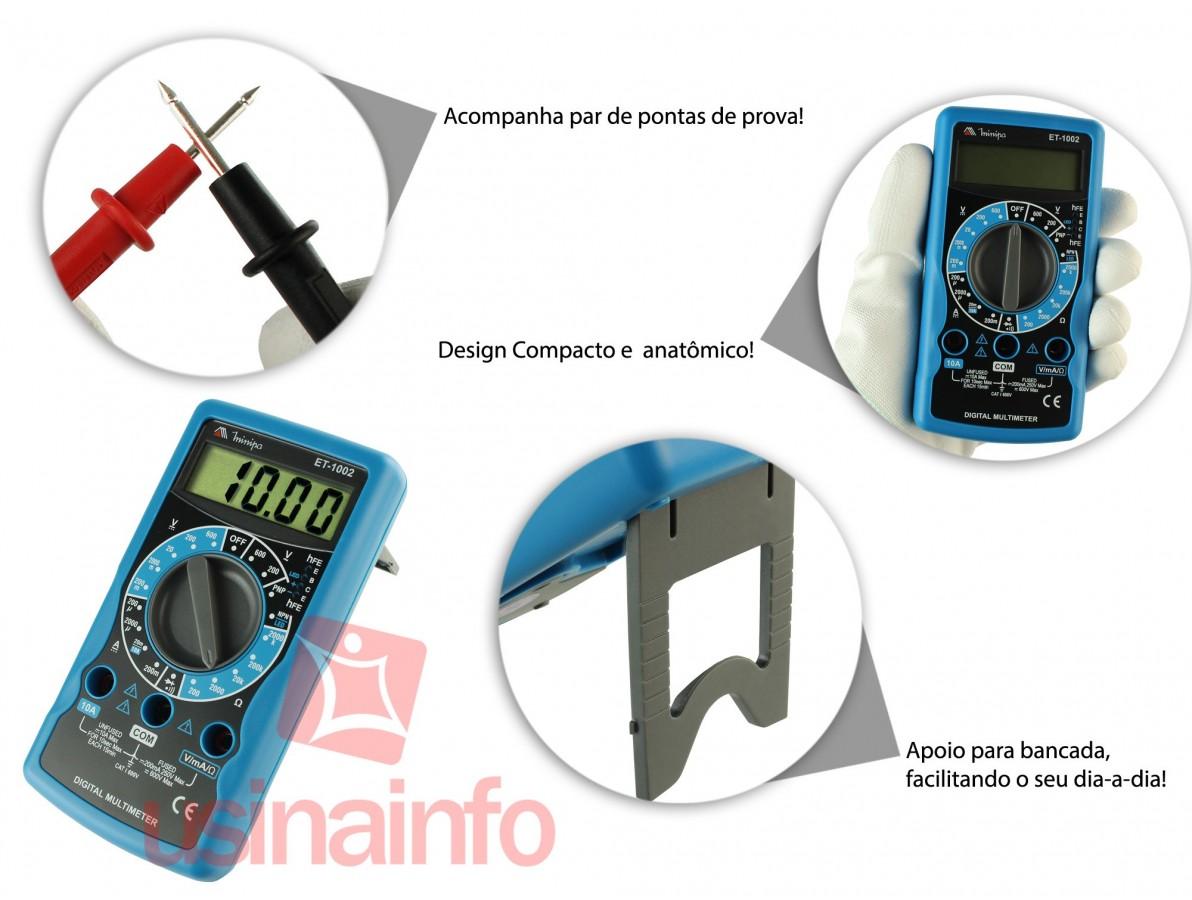 Multímetro Digital Minipa ET-1002 CAT I 600V