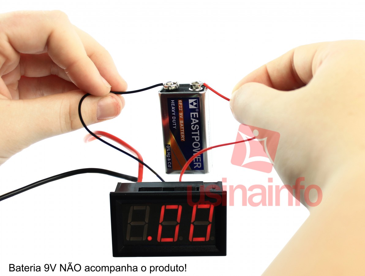 Amperímetro Digital 3 Dígitos LED 10A - Vermelho