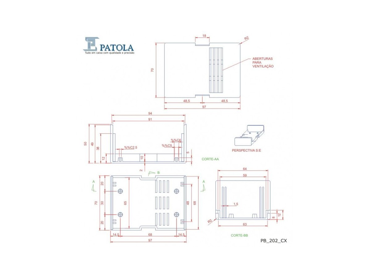 Caixa Patola / Case para Montagem 50 x 70 x 98 mm - PB-202