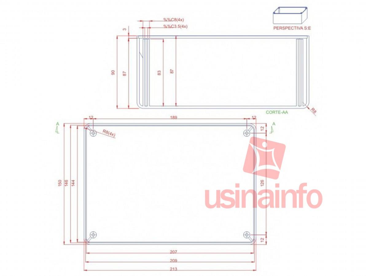 Caixa Patola / Case para Montagem 100 x 150 x 214 mm - PB-150