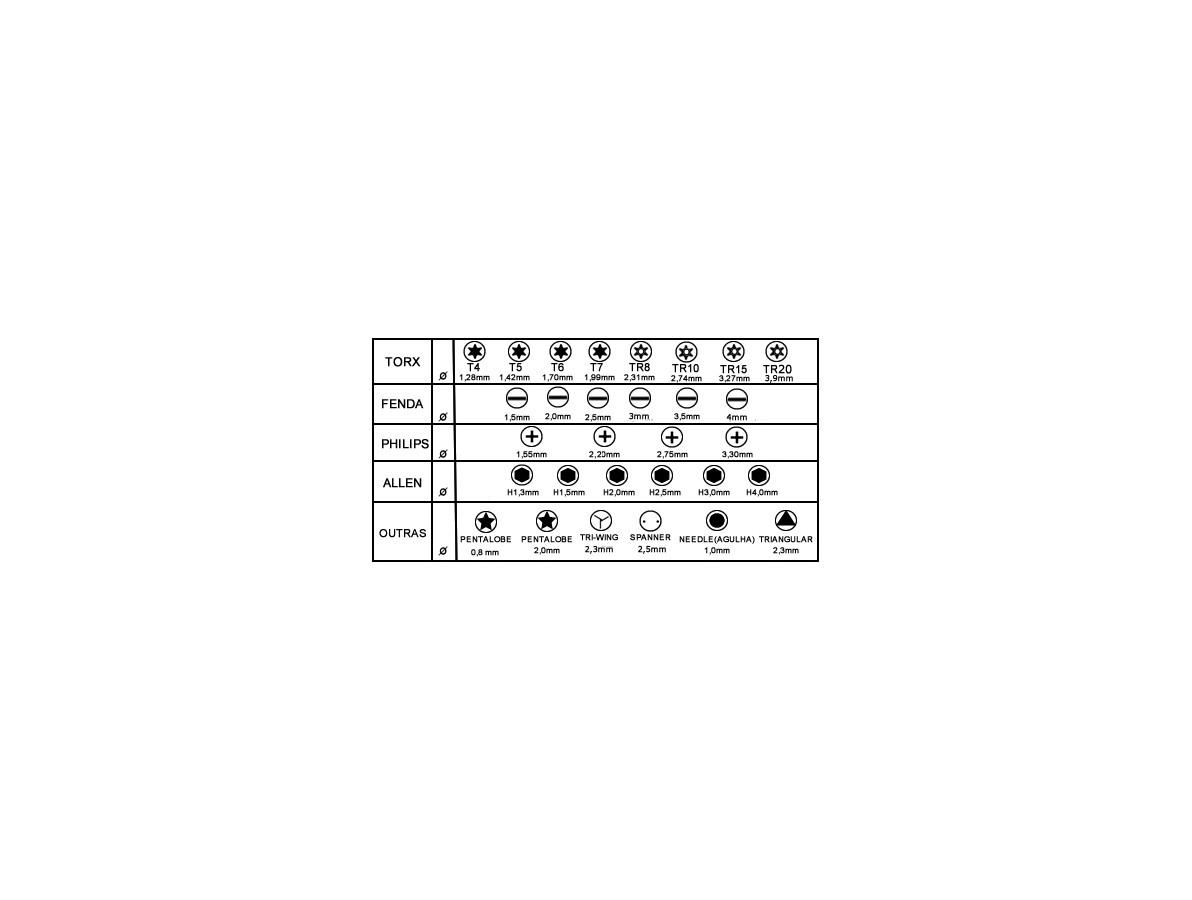 Jogo de Chaves com 30 bit's e extensor metálico / Chave Torx / Allen / Philips / Triangular / Pentalobe / etc - YX 6030