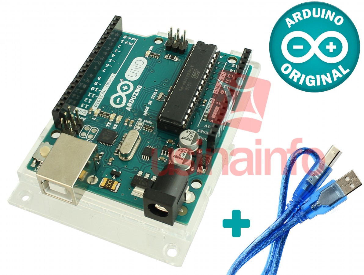Arduino Uno R3 + Base Acrílica Oficial + Cabo USB - Original
