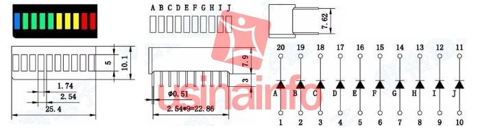 Barra Gráfica de LED 10 Segmentos Colorida