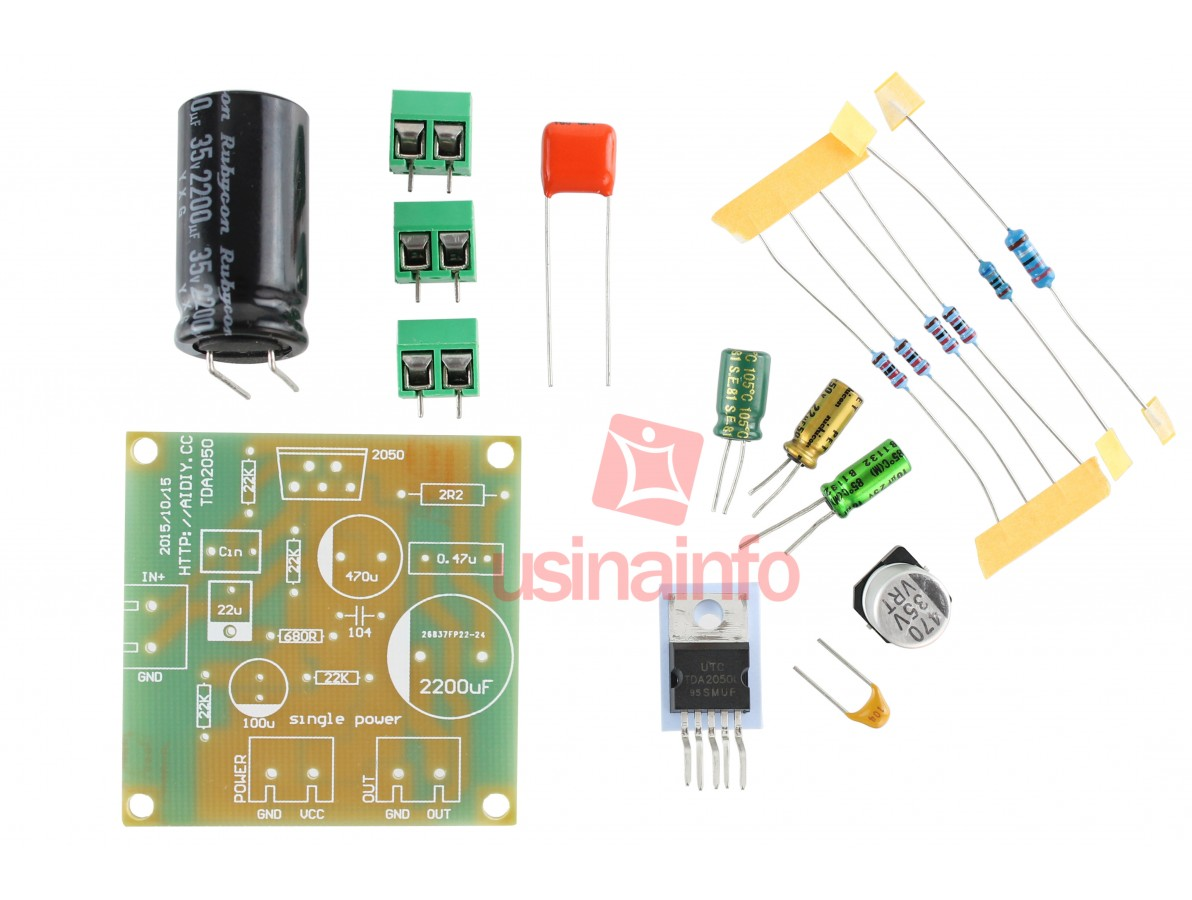 Mini Amplificador de Som TDA2050 Mono 1 Canal 35W DIY