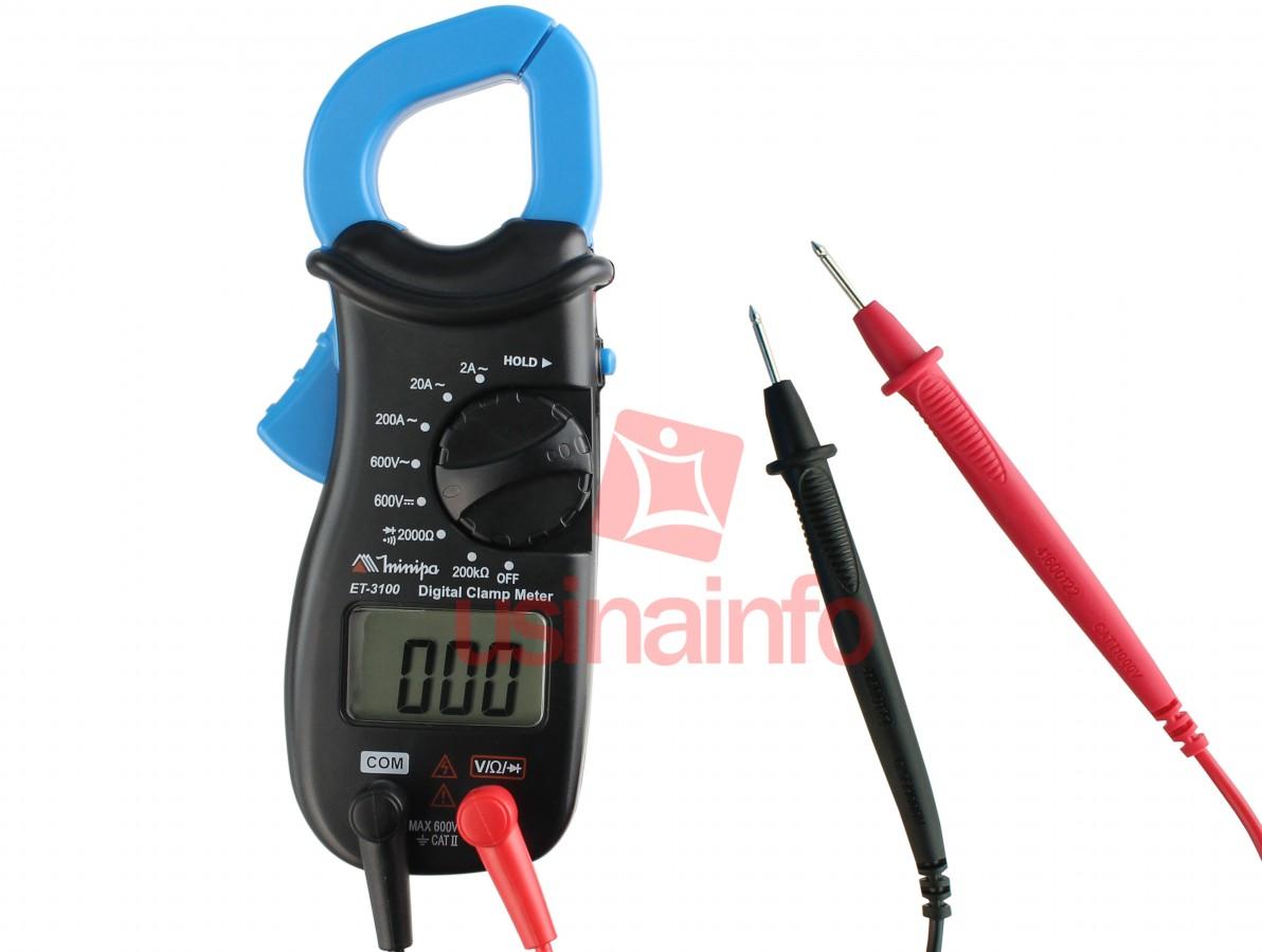 Alicate Amperímetro Digital Minipa ET-3100 Compacto CAT II 600V
