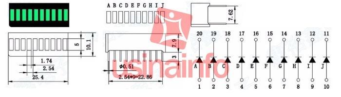 Barra Gráfica de LED 10 Segmentos Verdes