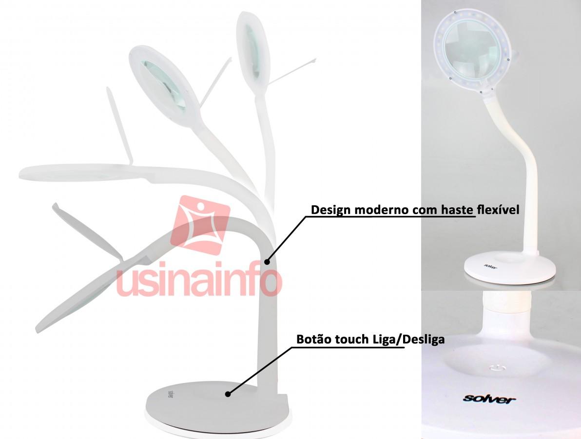 Lupa de Bancada com Iluminação 24 LEDs e Zoom de 5X - Solver HL-210 Led