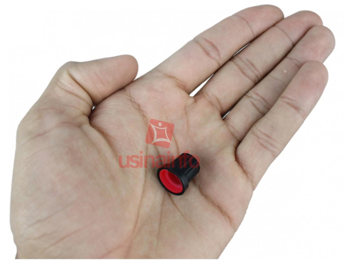 Knob Estriado para Projetos - Preto/Vermelho