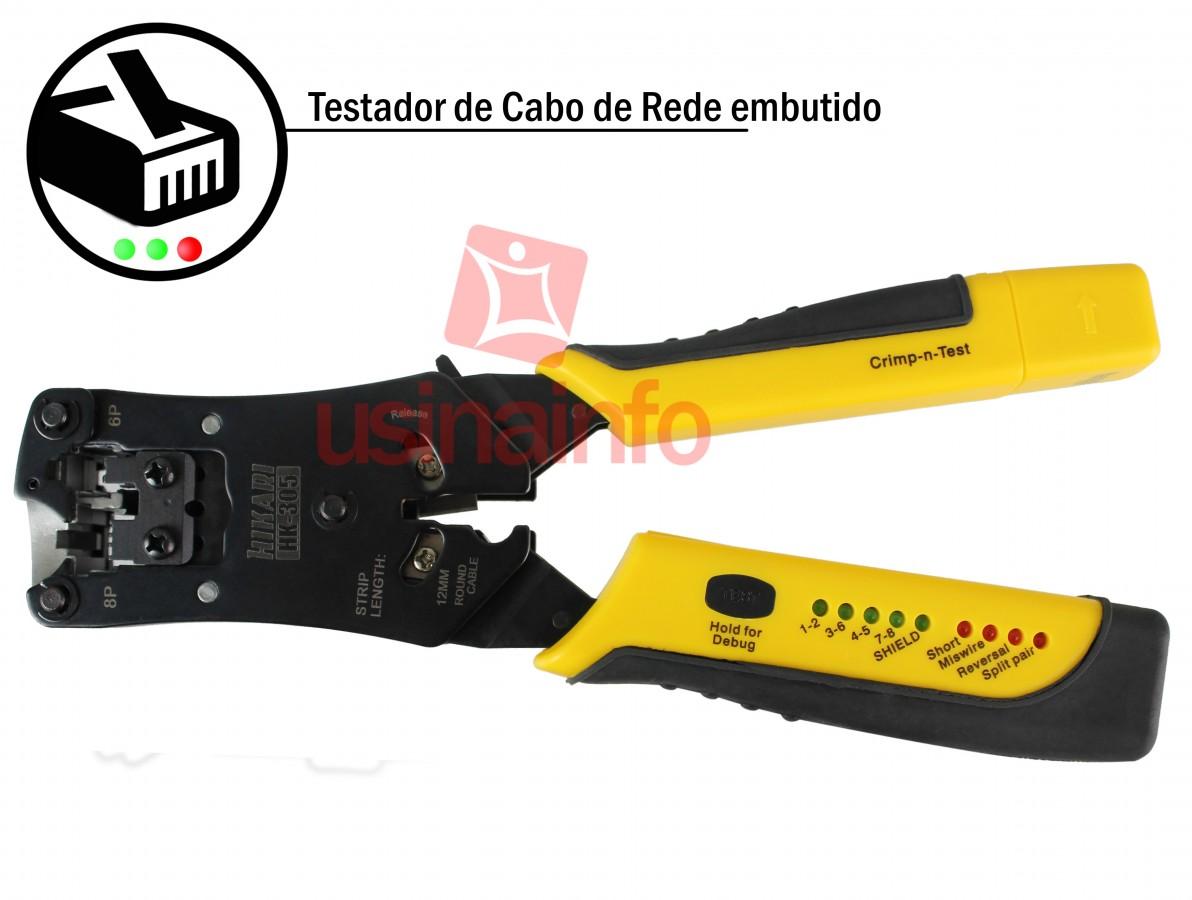 Alicate de Crimpar com Testador de Cabos de Rede 2 em 1 Hikari RJ45 / RJ11 / RJ12 HK-305
