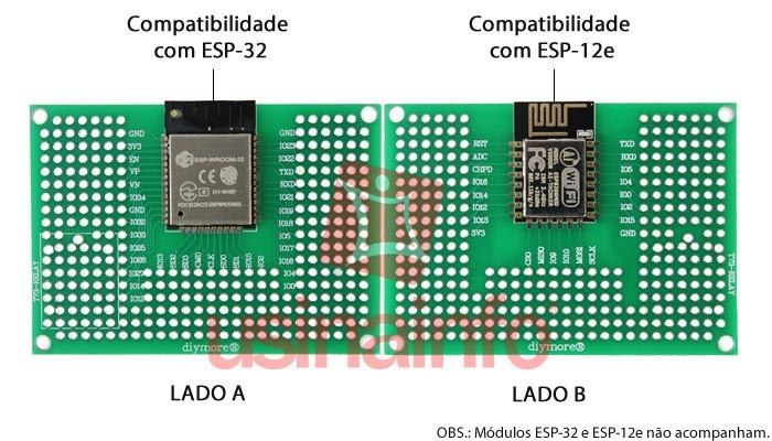 Placa Adaptadora para ESP-32, ESP-12E e ESP-12F / Expansor de Pinos 50x70mm