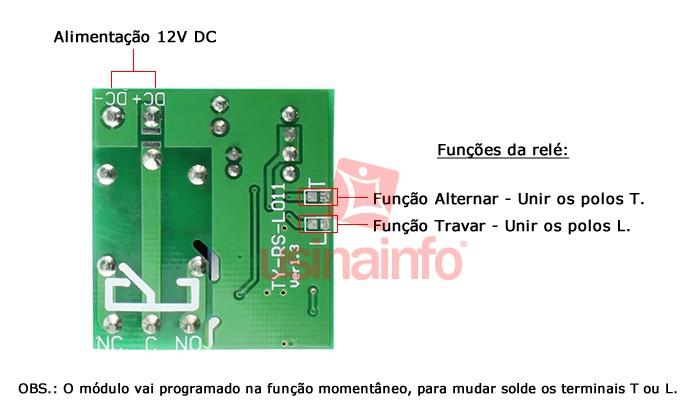 Relé com Controle Remoto 12V 10A 1 Canal 433MHz + Case
