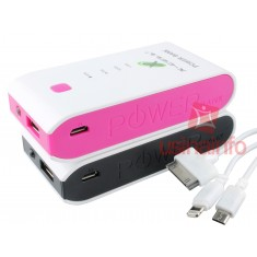 Power Bank / Carregador Portátil 6800mAh para iPhone e Smartphones + Cabo Conector Triplo
