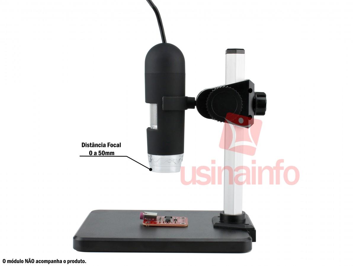 Microscópio Digital USB Zoom 500X + Suporte com Ajuste de Altura - US500