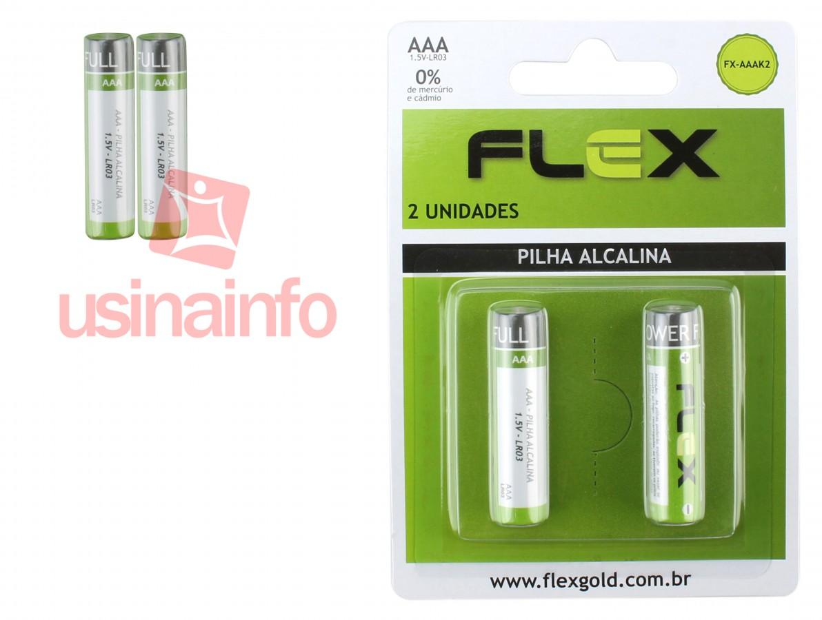 Pilha Alcalina AAA 1,5V Flex - Kit com 2 unidades