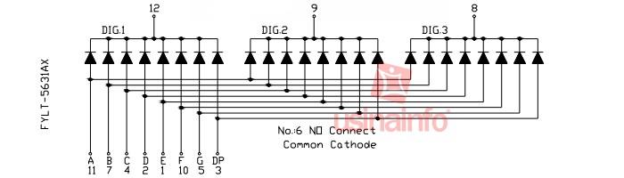 Display 7 Segmentos 3 Dígitos Vermelho - Catodo Comum