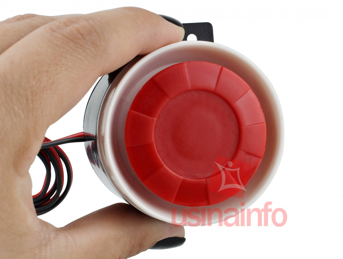 Sirene para Alarme Monotonal 12V 130dB de Alta Potência
