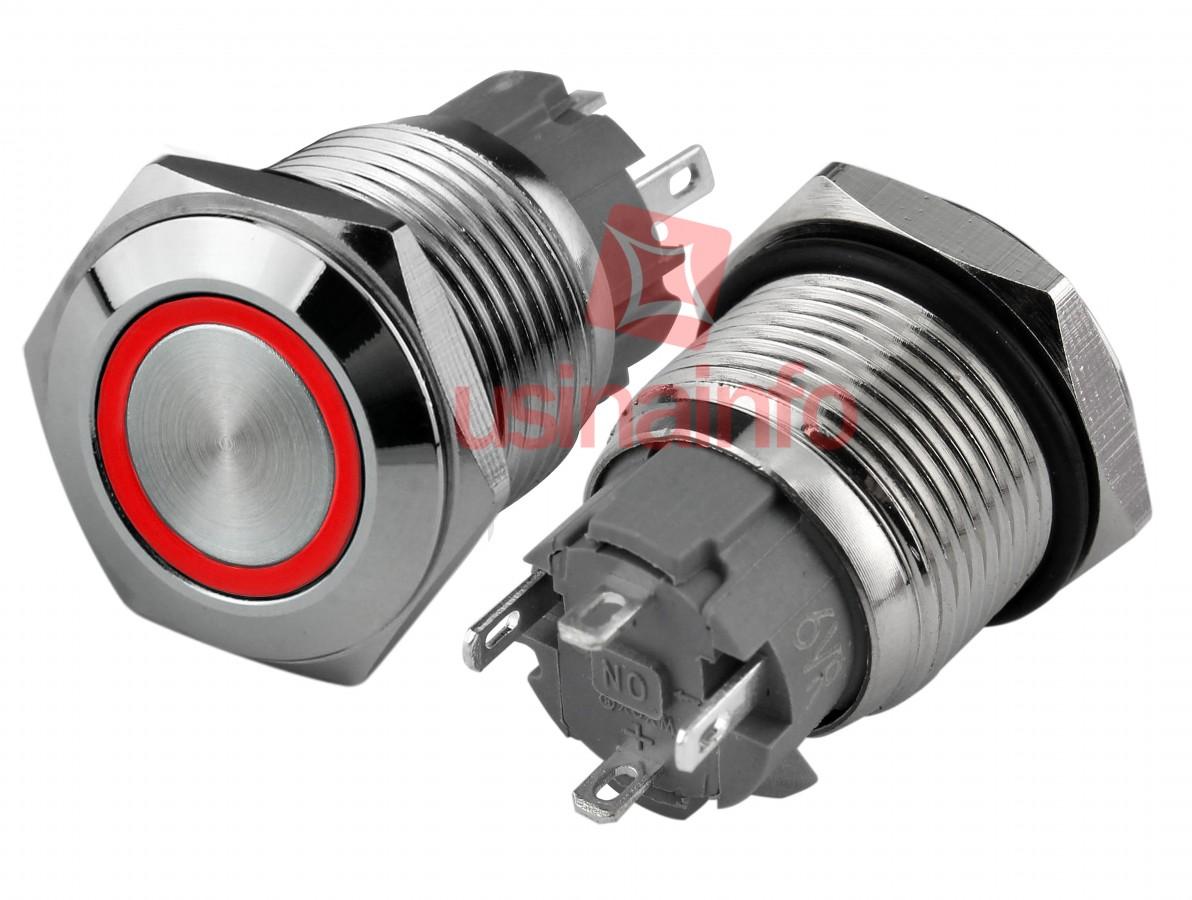 Pulsador Push Button NA em Aço Inox com LED Vermelho - Impermeável