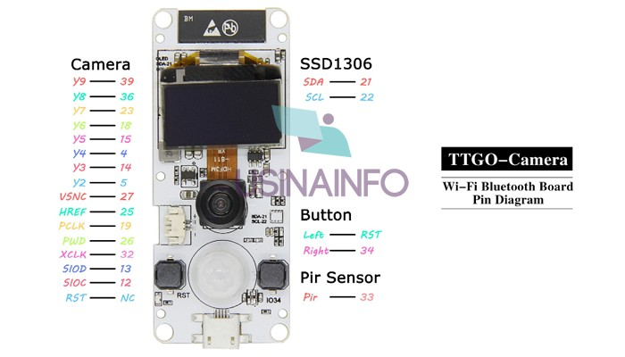 "TTGO T-CAMERA ESP32 Oled 0,96"", PIR e Câmera OV2640 IoT - UsinaInfo"