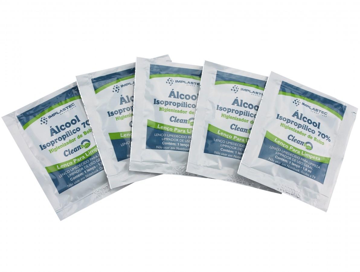 Álcool Isopropílico 70% Higienizador de Bolso - Kit com 5 Unidades