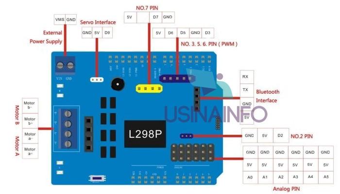 Motor Shield L298 Driver Ponte H com Interfaces para Servo e Bluetooth