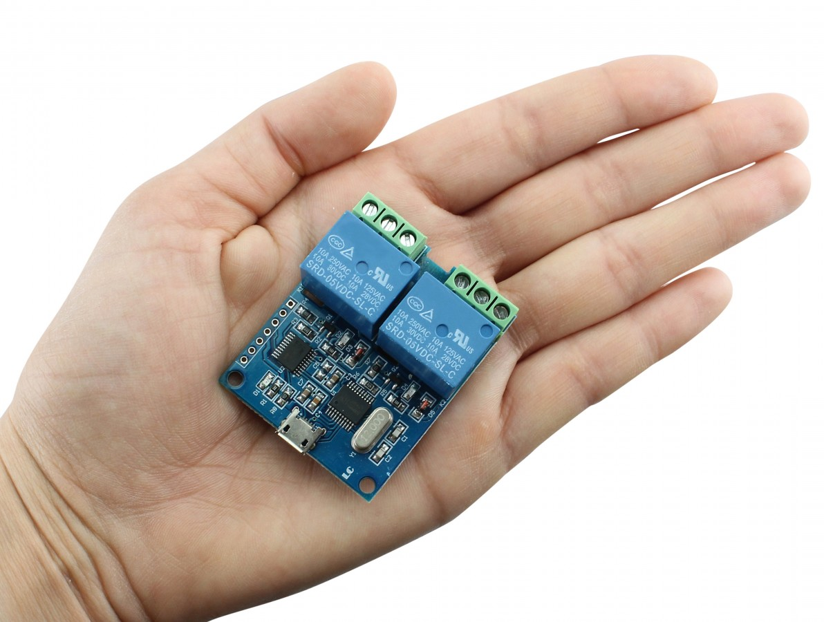 Módulo Relé 2 Canais Micro USB com Conversor CH340