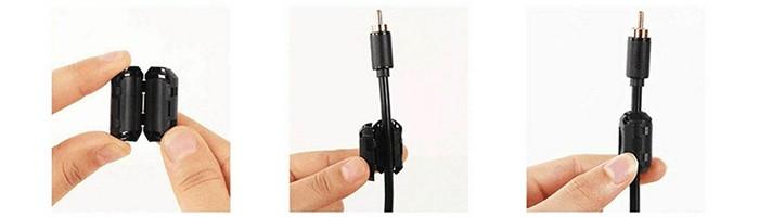 Núcleo de Ferrite Supressor / Clip Conector Filtro Emi Rfi Para Cabos até 5mm