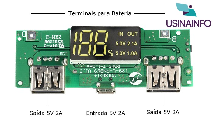 Carregador de Bateria 18650 com USB Dupla 5V 2A e Indicador de Carga PN969