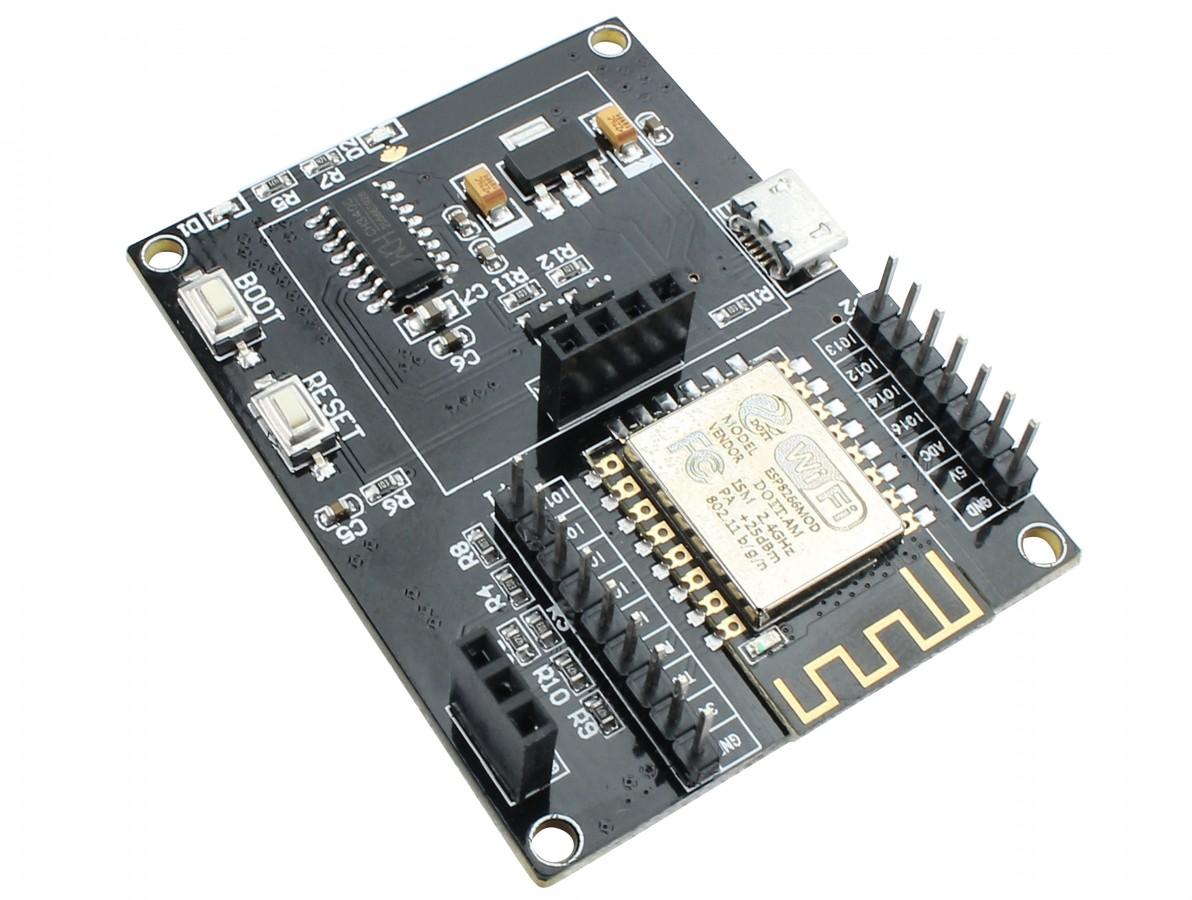 ESP8266 12F IOT WiFi Serial USB Placa de Desenvolvimento com Pinos, Slot para Display OLED e DHT11 + Cabo USB