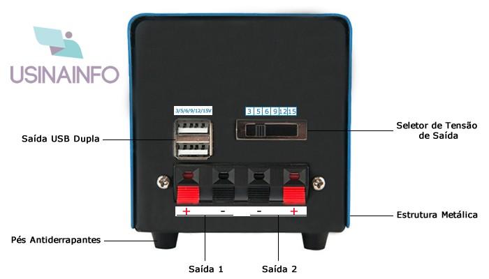 Dínamo Gerador de Energia 20W 3V/ 5V/ 6V / 9V / 12V / 15V com Saída USB e Jack Duplo - F20