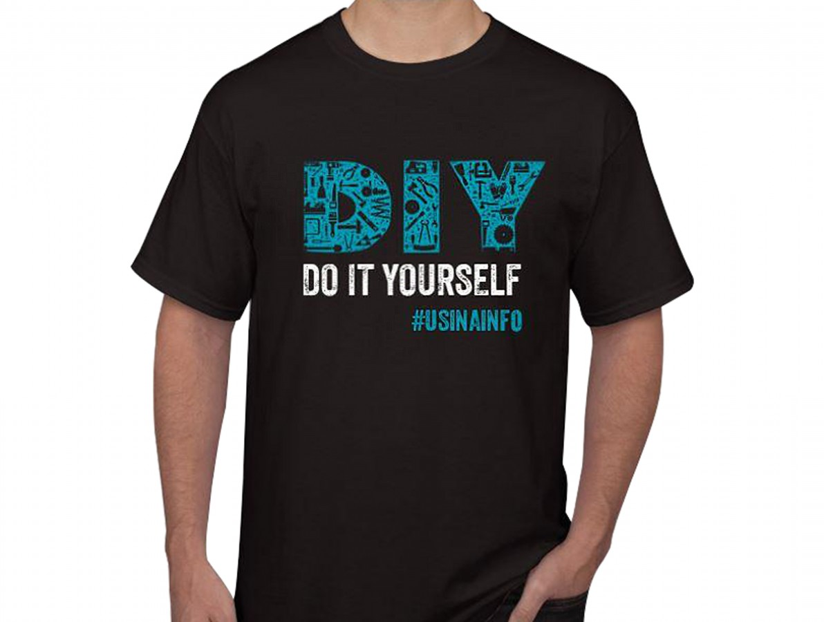 "Camiseta Maker ""DIY Do It Yourself"" - Preta"
