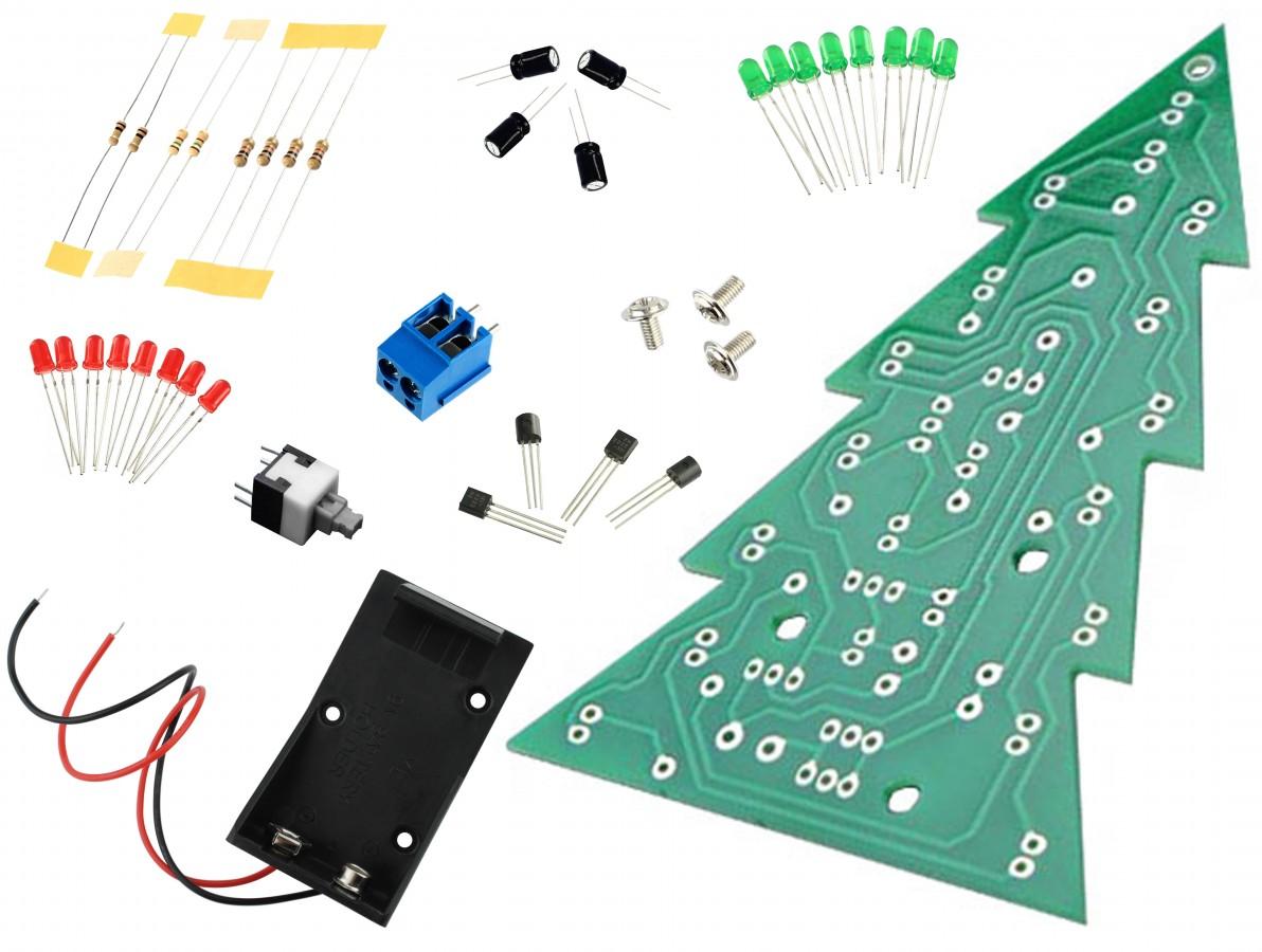 Kit Árvore de Natal Led Piscante DIY para Aprendizagem Eletrônica - AN16