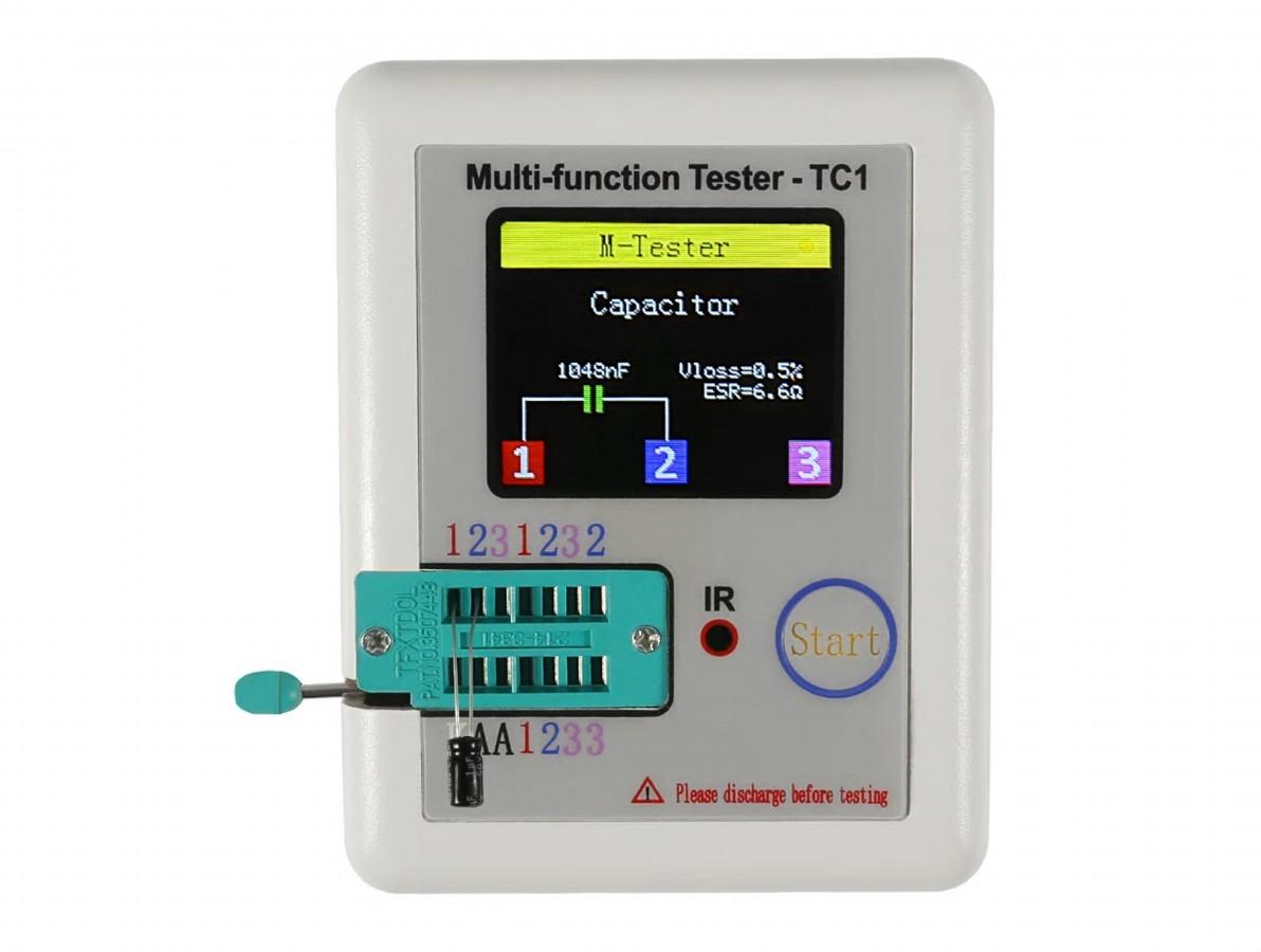 """Testador de Componentes Eletrônicos LCR-TC1 com Display 1.8"""" e Bateria de Lítio"""