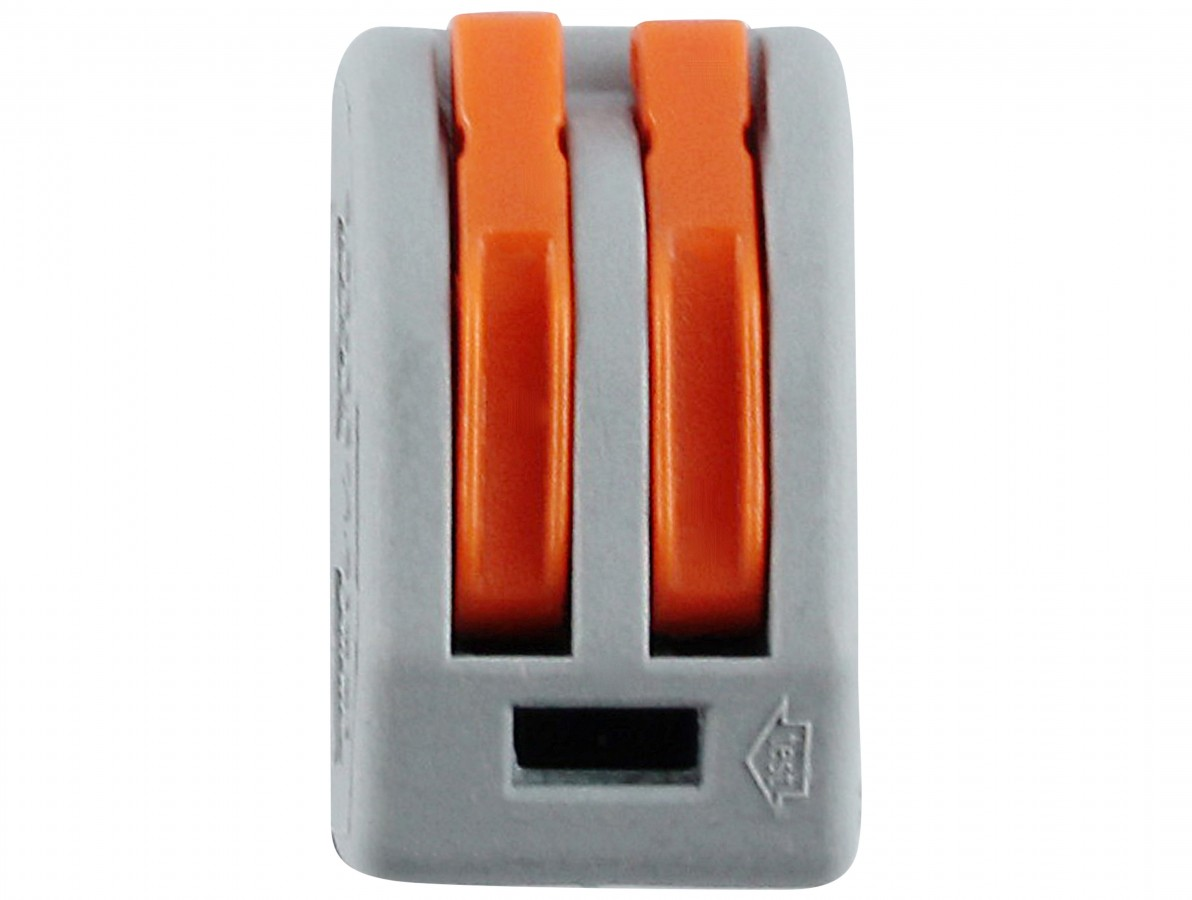 Conector Tipo Wago 2 Vias para Emenda Rápida 32A Fio 0.08 à 2.5mm2 - Kit com 5 Unidades